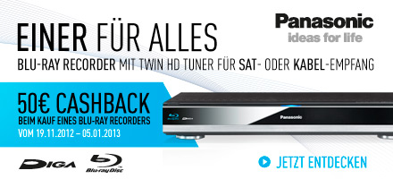 Einer für Alles. Blu-ray Recorder mit Twin HD Tuner für SAT- oder Kabel-Empfang. 50,- EUR Cashback beim Kauf eines Blu-ray Recorders vom 19.11.2012 - 05.01.2013.