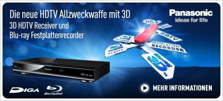 3D HDTV Receiver und Blu-ray Festplattenrecorder von Panasonic